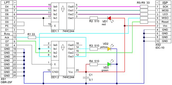 Программатор stk200/300 для микроконтроллеров avr